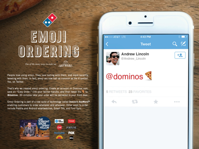 Domino's pizza emoji ordering