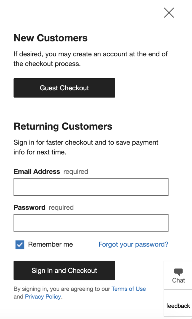 Ecommerce sales - guest checkout example Crate & Barrel