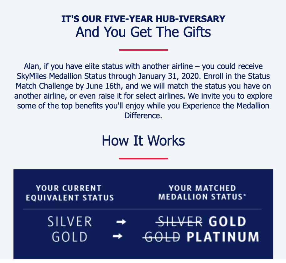 Delta Airlines email promotion