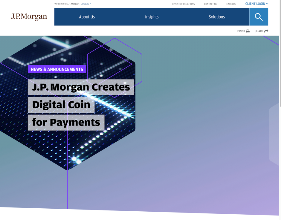 J.P. Morgan creates digital coin for payments
