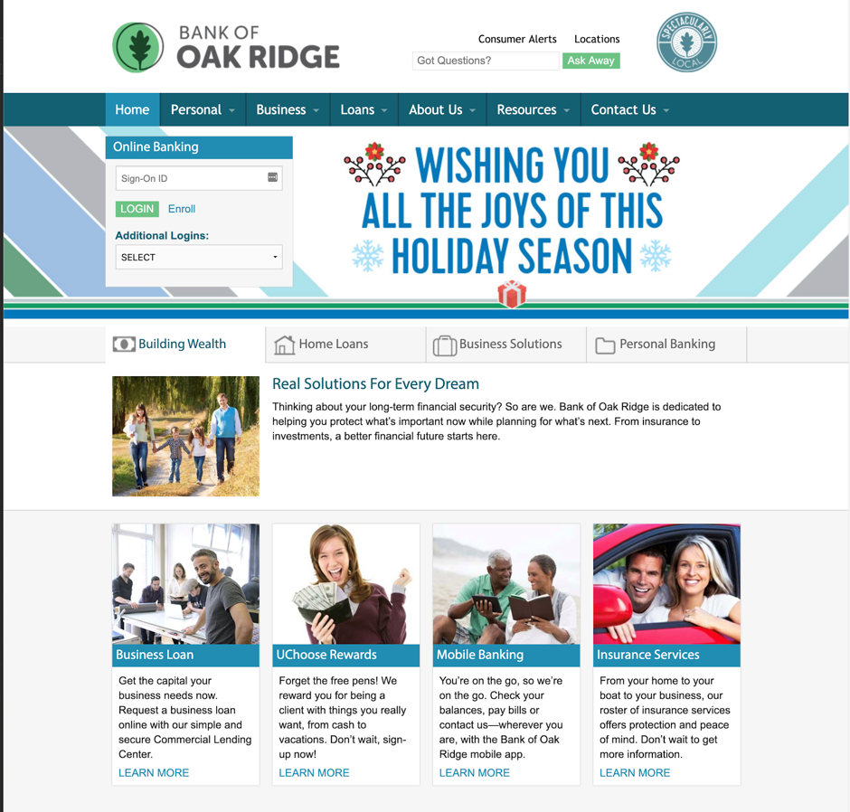 Bank of Oak Ridge offers financial services digitally to their customers
