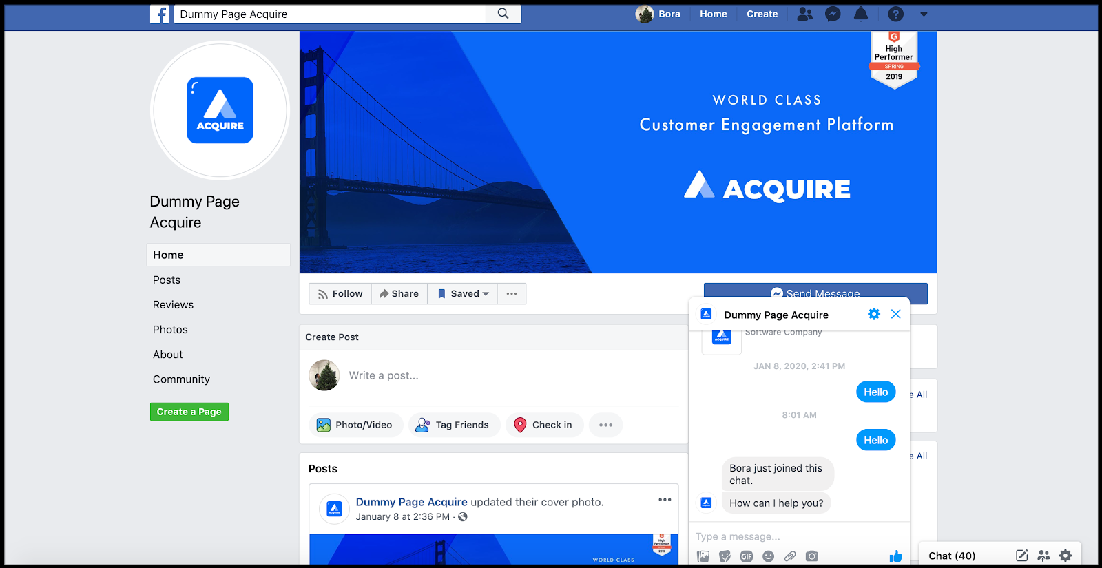 Support team replies back to customers within Acquire dashboard and customer receives it through facebook messenger