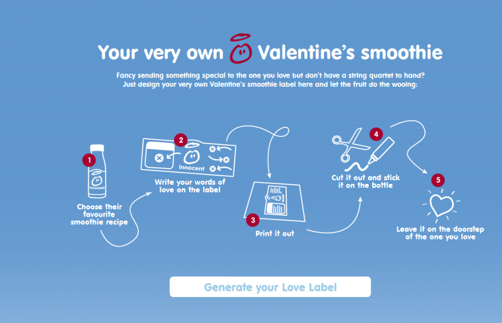 valentine's day love label generator by innocent drinks