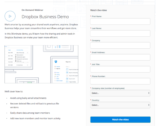 Dropbox business demo form