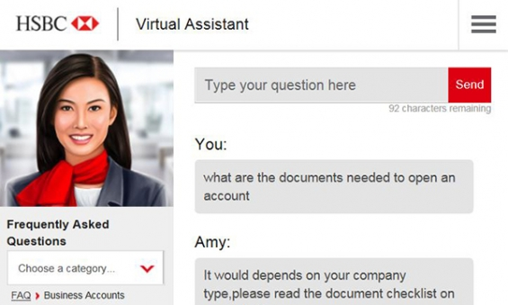 chatbots in banking amy hsbc