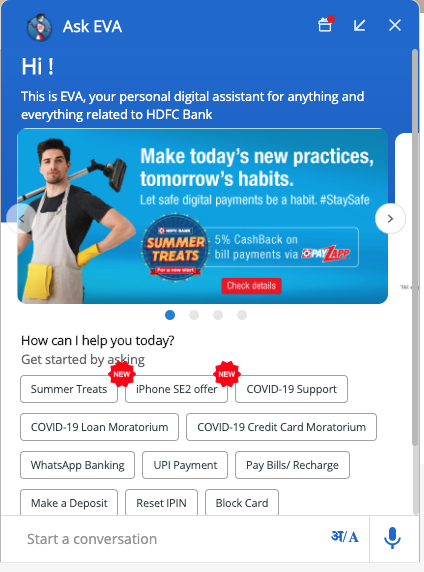 Eva pops up in HDFC's website with relevant information