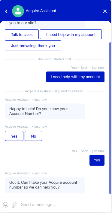 Acquire Assistant is a fully functional conversational AI bot.