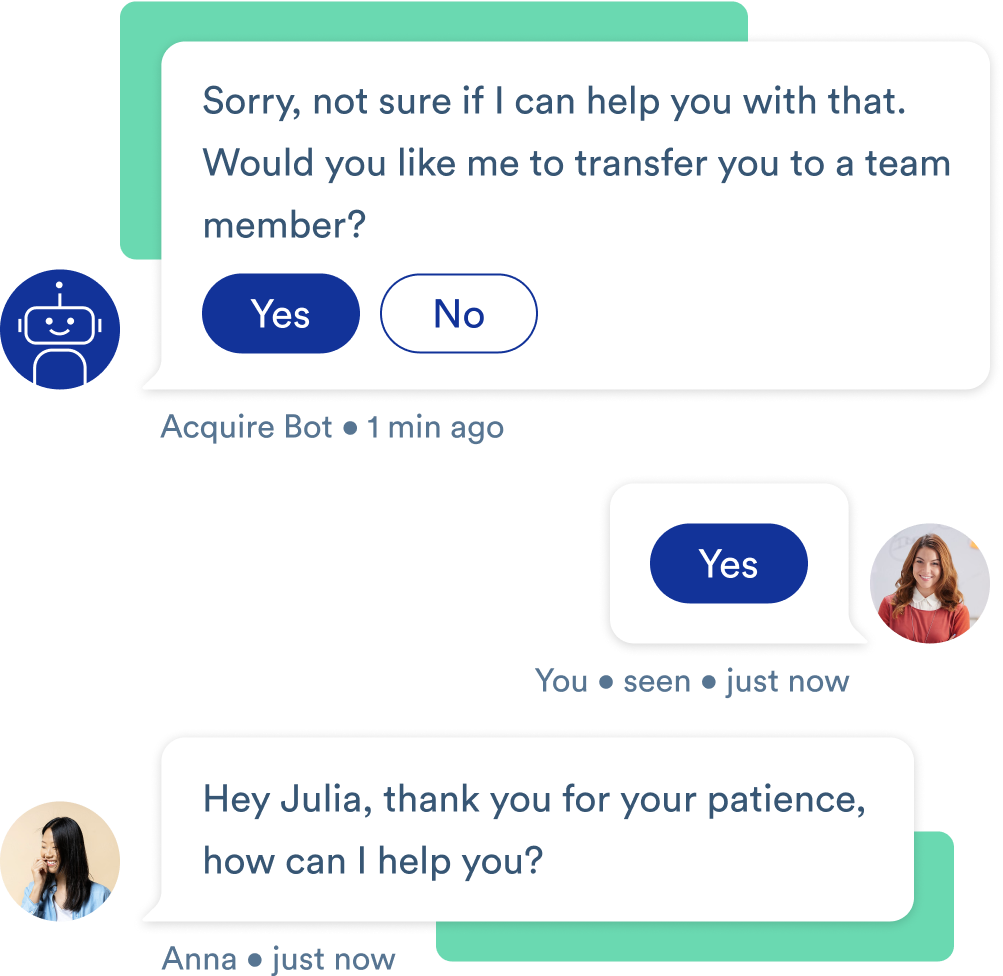 An example Acquire chatbot interaction