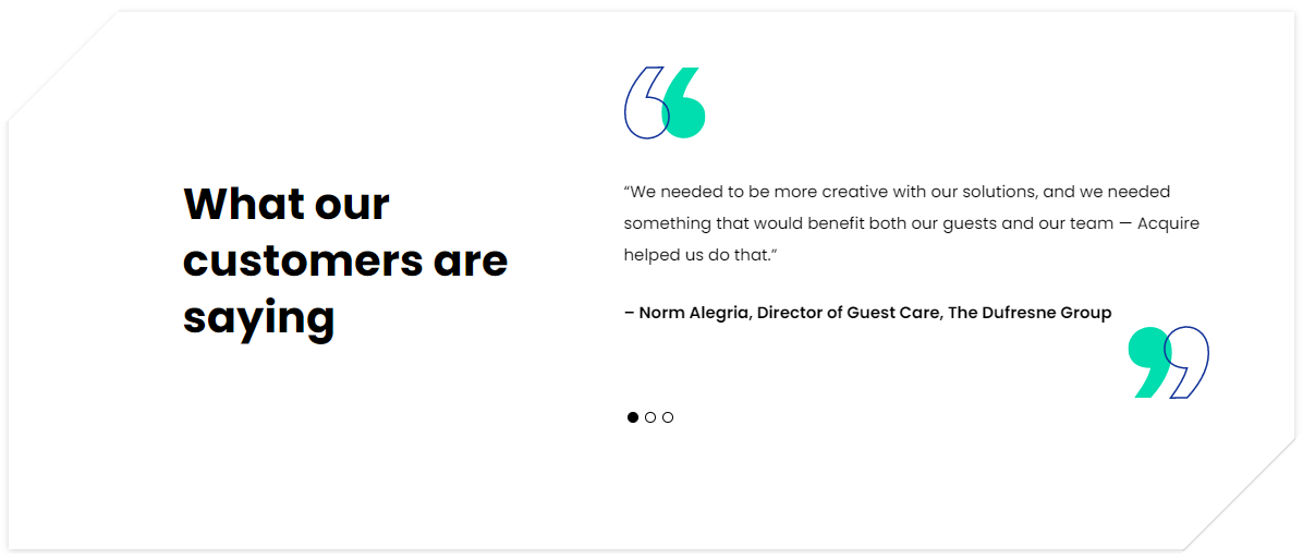 Testimonials from Acquire customers