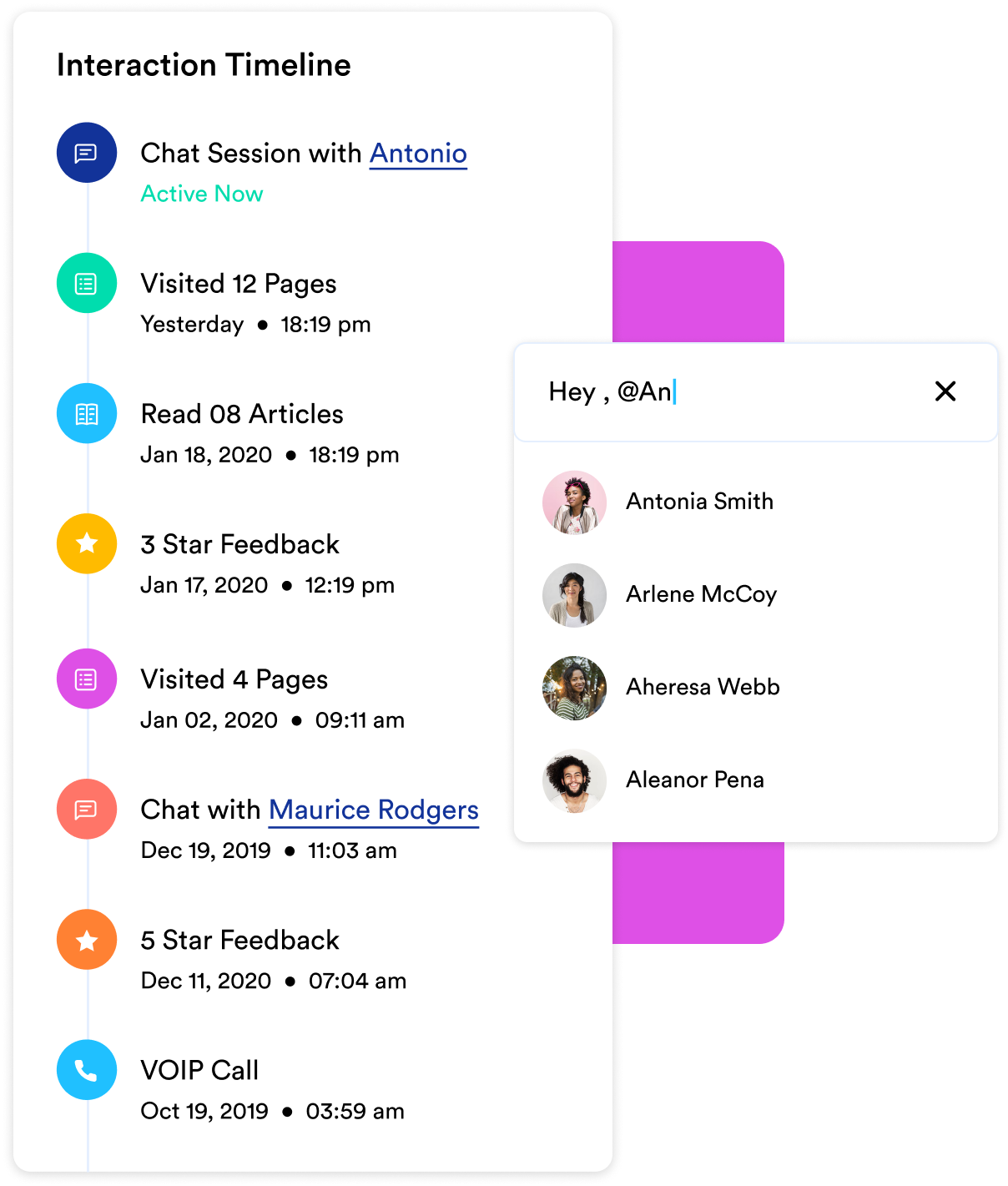 View complete customer history while chatting