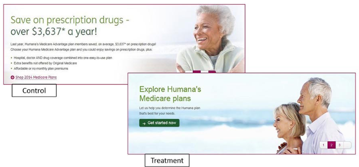 A/B testing a website banner for Humana, an insurance company