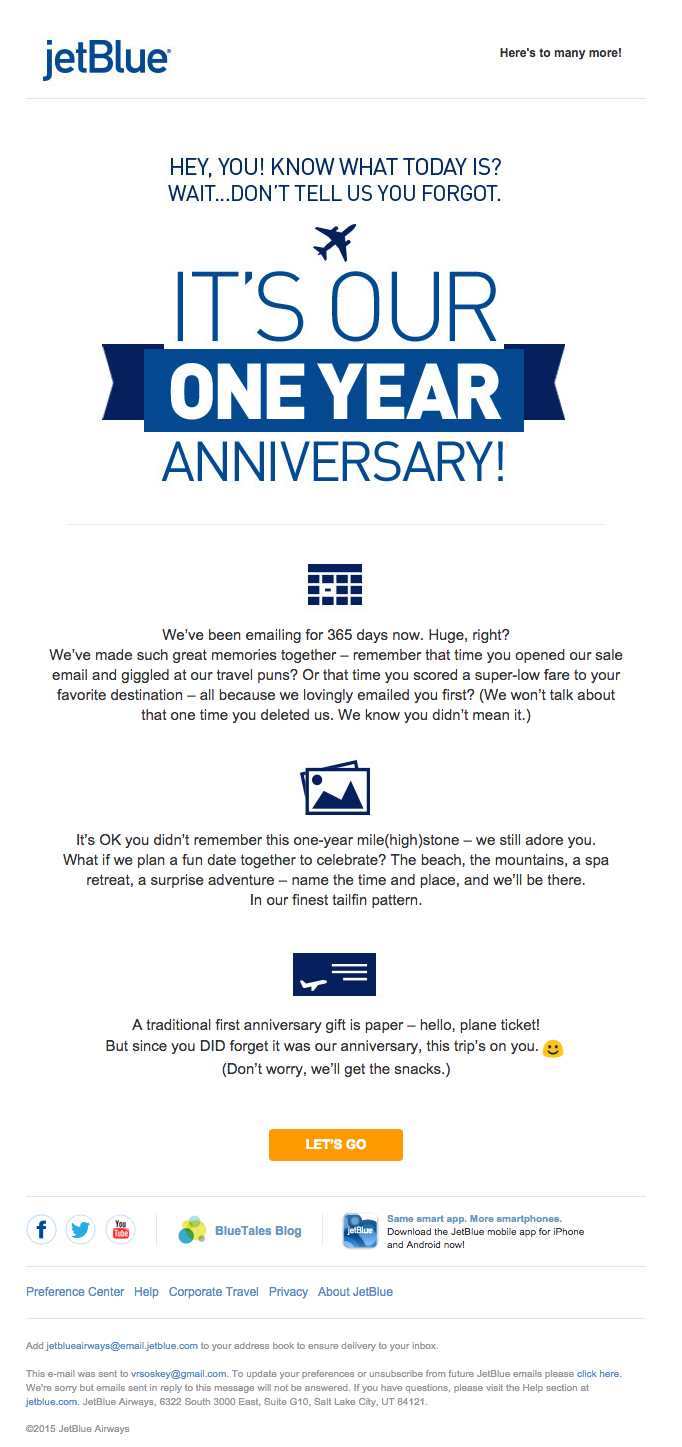 JetBlue personalized email example