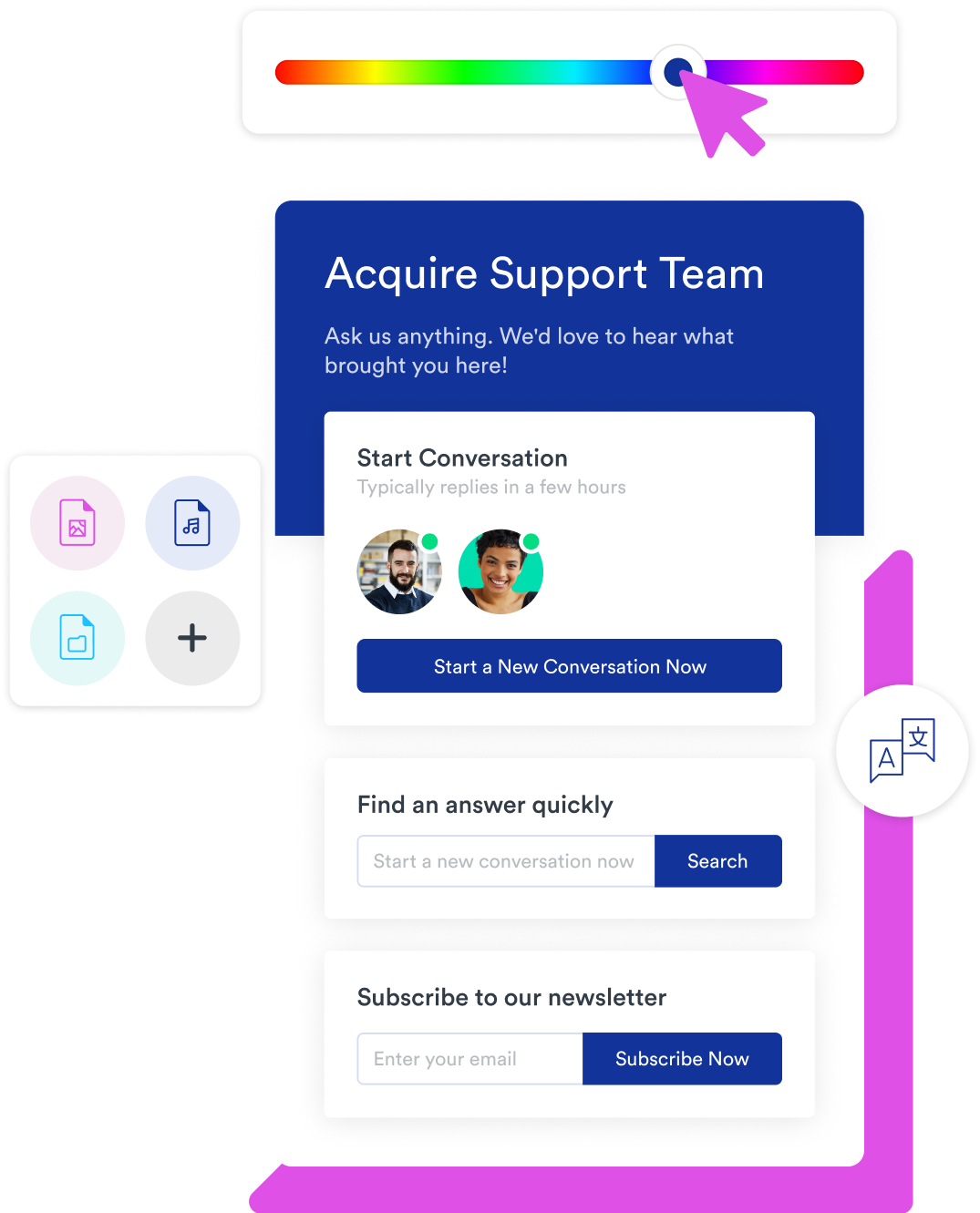 Video and voice call in acquire modern business chat widget