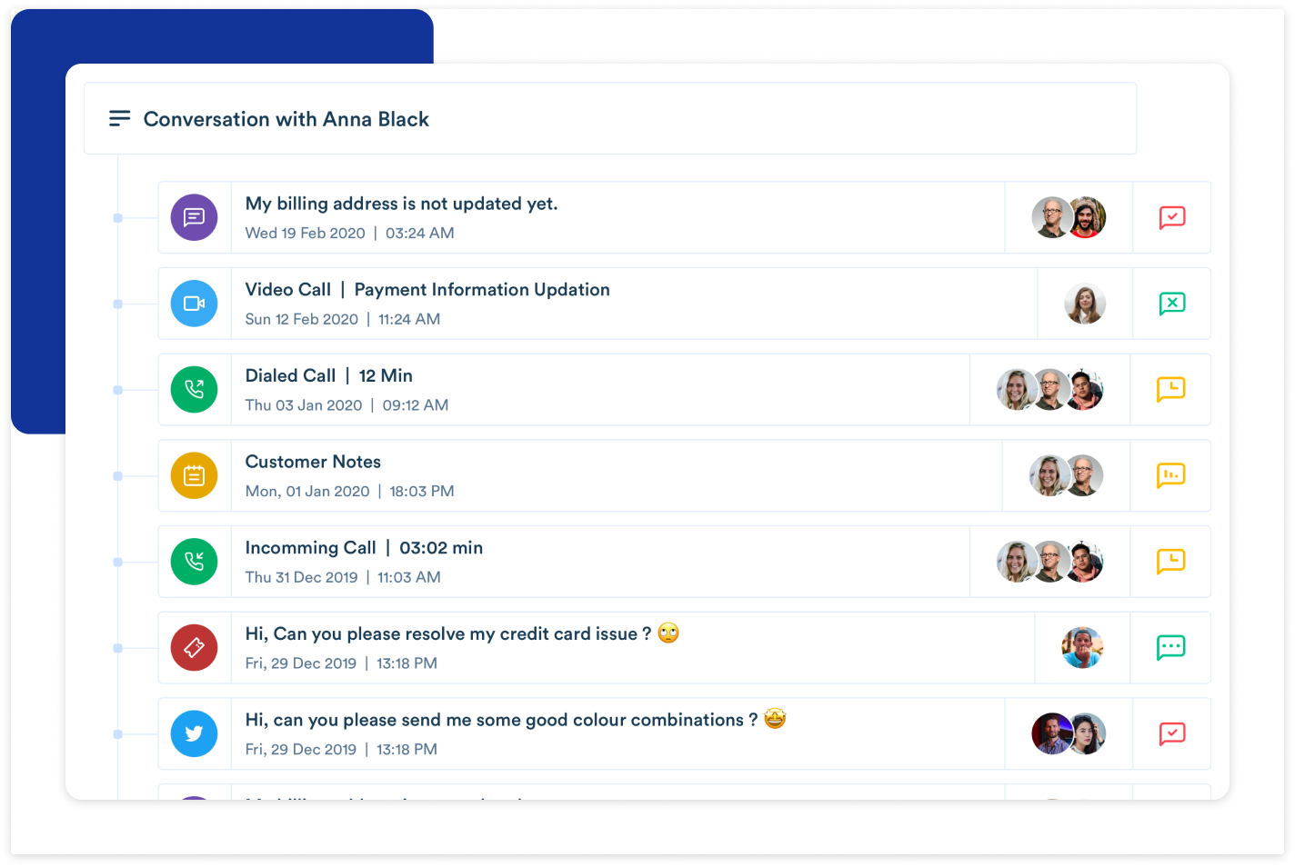 Continuous conversations with customers in a single thread