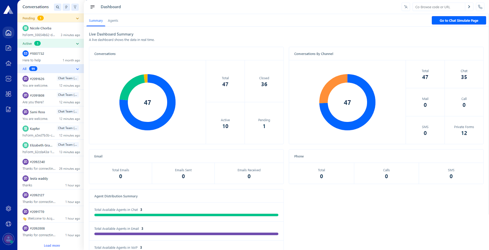 The Acquire platform interface
