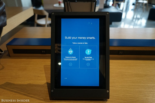 A tablet at a Capital One Cafe