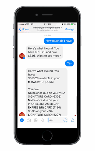 The Wells Fargo chatbot in action